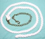 White Cotton Lead Rope With Brass Chain